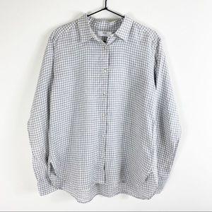 UNIQLO Premium Linen Check Long Sleeve Shirt